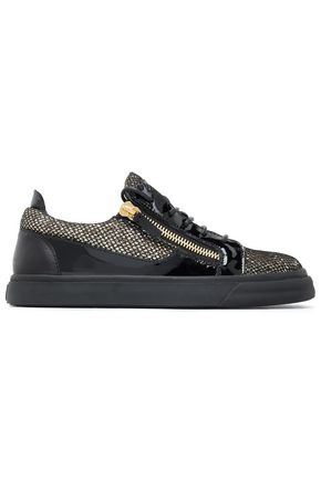 GIUSEPPE ZANOTTI London smooth, glittered and patent-leather sneakers