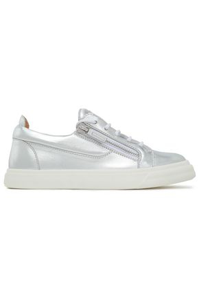 GIUSEPPE ZANOTTI London zip-detailed metallic leather sneakers