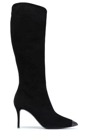 GIUSEPPE ZANOTTI Patent leather-trimmed suede boots