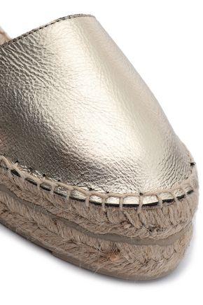 MANEBÍ Metallic textured-leather and canvas espadrilles