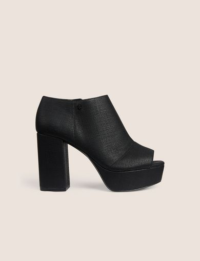DENIM-EFFECT OPEN-TOE PLATFORM BOOTIE
