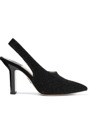 PAUL ANDREW Stella textured-lamé slingback pumps