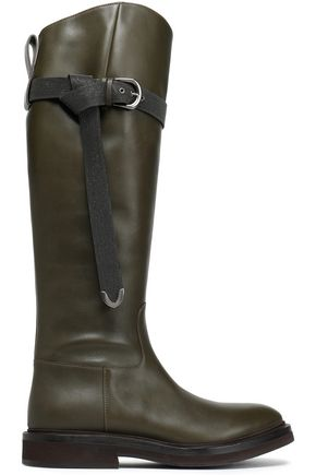 BRUNELLO CUCINELLI Bead-embellished leather knee boots