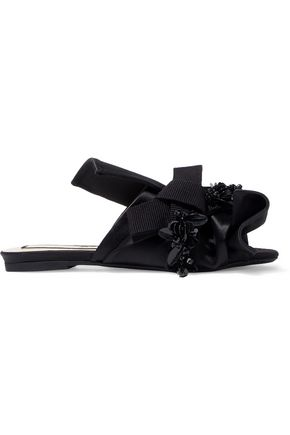 N°21 Knotted embellished satin slides