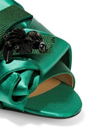 N°21 Knotted embellished satin slides