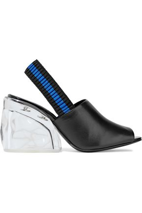 3.1 PHILLIP LIM Leather and Plexiglas slingback mules