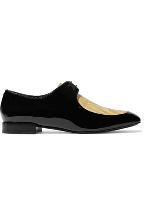 3.1 PHILLIP LIM Louie woven-paneled patent-leather brogues