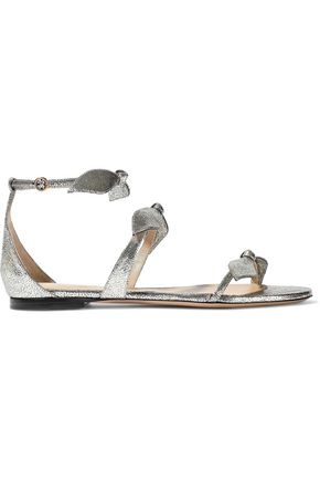 CHLOÉ Mike bow-embellished metallic cracked-leather sandals