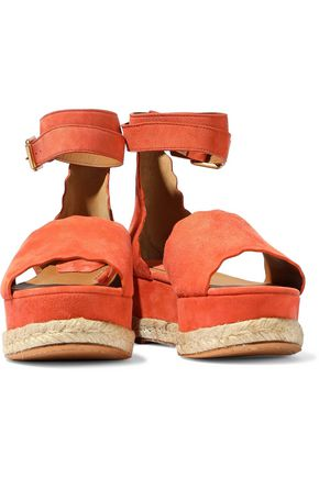 CHLOÉ Lauren scalloped suede platform espadrille sandals