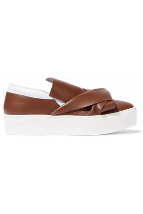 N°21 Knotted two-tone leather slip-on platform sneakers
