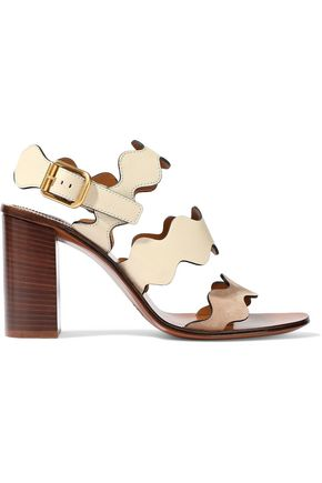 CHLOÉ Lauren leather and suede sandals
