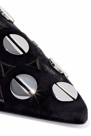 MERCEDES CASTILLO Kris cutout studded velvet slippers