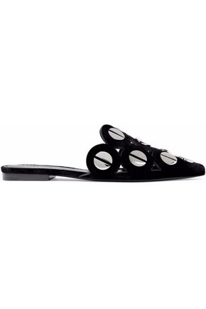 MERCEDES CASTILLO Kris cutout studded velvet slippers