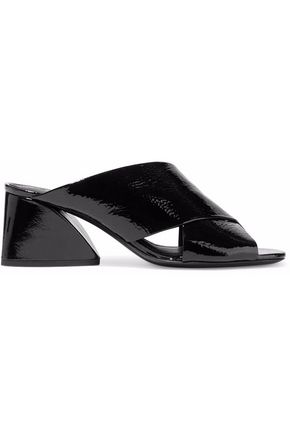 MERCEDES CASTILLO Lenilow crinkled patent-leather mules