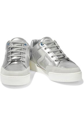 STELLA McCARTNEY Metallic perforated faux suede and leather sneakers