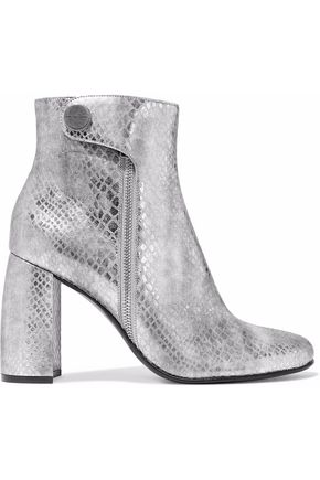 STELLA McCARTNEY Paden metallic snake-effect faux leather ankle boots