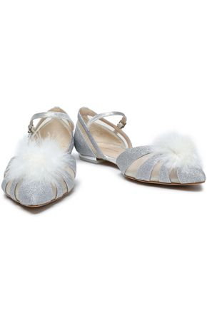 Sophia Webster Woman Paola Feather-Embellished Glittered Leather Point-Toe Flats Silver