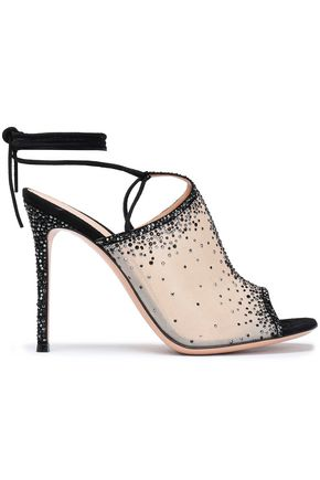 GIANVITO ROSSI Lace-up embellished organza sandals