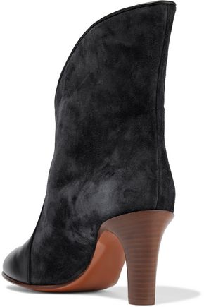 CHLOÉ Leather-paneled suede ankle boots
