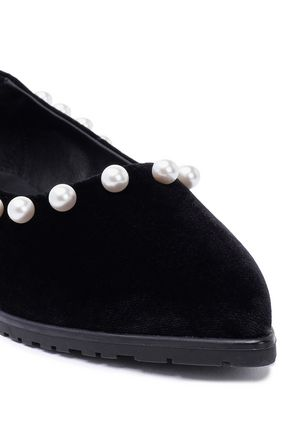 MOTHER OF PEARL Thea faux pearl-embellished velvet point-toe flats