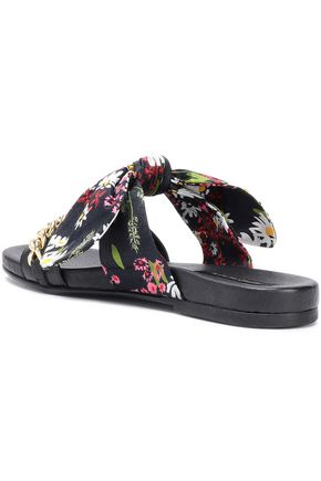 MOTHER OF PEARL Floral-printed embellished twill and leather slides