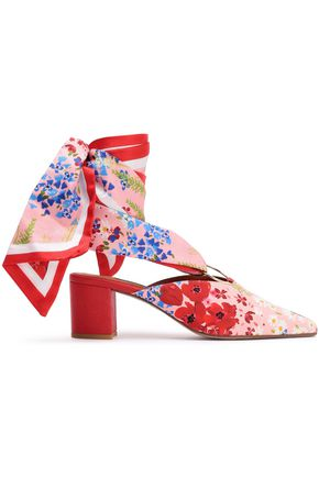 MOTHER OF PEARL Amber floral-print twill mules