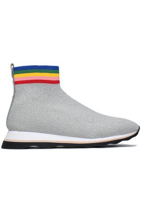 Scout Stretch-Knit High-Top Sneakers in Light Gray