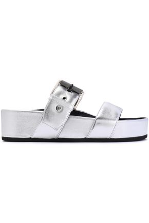 RAG & BONE Buckled metallic leather platform slides
