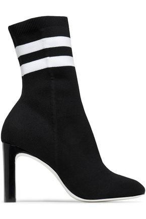 RAG & BONE Ellis striped stretch-knit sock boots