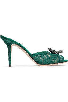 DOLCE & GABBANA Embellished corded lace slides