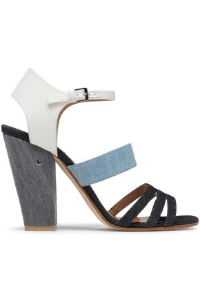 LAURENCE DACADE Leather-trimmed denim sandals