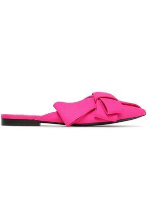 DELPOZO Bow-embellished neon felt slides
