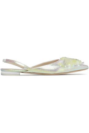 DELPOZO Embellished iridescent satin point-toe flats