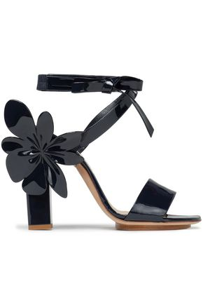 DELPOZO Floral-appliquéd patent-leather sandals