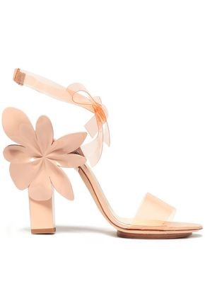 DELPOZO Floral-appliquéd PVC and patent-leather sandals
