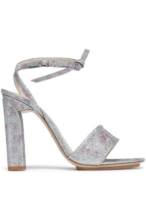 DELPOZO Bow-embellished glittered metallic leather sandals