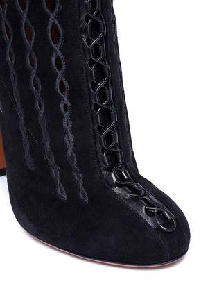 ALAÏA Cutout suede knee boots