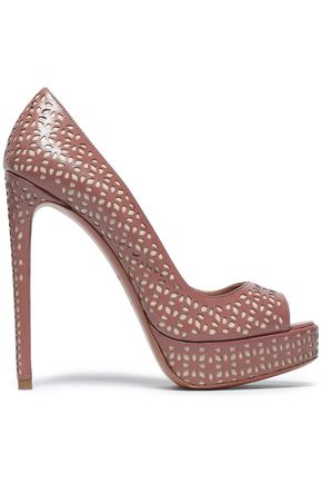 ALAÏA Laser-cut leather platform pumps