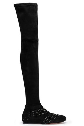 ALAÏA Studded suede over-the-knee boots