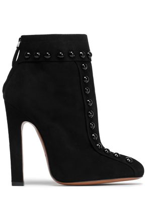 ALAÏA Button-embellished suede ankle boots