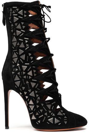 ALAÏA Embellished laser-cut suede ankle boots