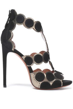 ALAÏA Metallic laser-cut leather and suede sandals
