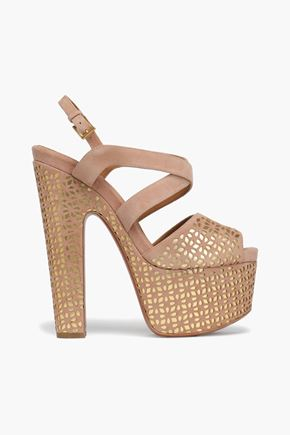 ALAÏA Laser-cut suede and metallic leather platform sandals