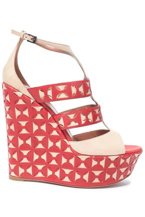 ALAÏA Laser-cut leather wedge sandals