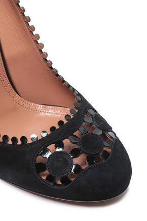 ALAÏA Laser-cut patent leather-trimmed suede pumps
