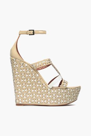 ALAÏA Laser-cut patent-leather wedge sandals