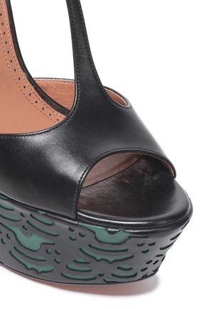 ALAÏA Laser-cut leather wedge sandals