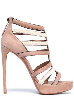 ALAÏA Two-tone suede platform sandals