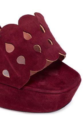 ALAÏA Scalloped suede platform sandals