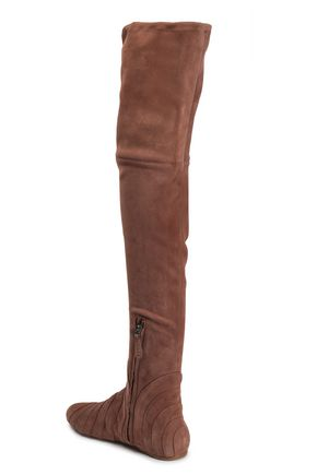 ALAÏA Pleated suede over-the-knee boots